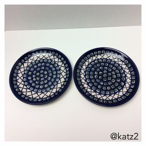 """Polish Pottery 7 1/2"""" Plates, Set of 2, NWOT"""